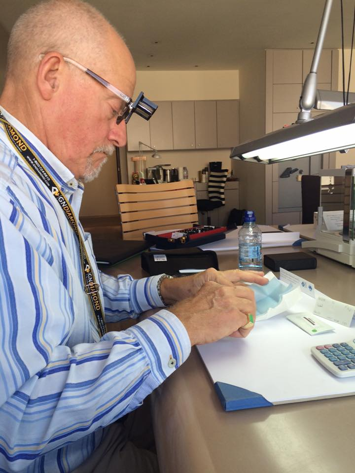 Our Master Jeweler Terry selecting diamonds in Antwerp